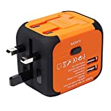 feifuns Worldwide Travel Adapter Universal Travel Power Adapter All in One International Wall Charger with Dual USB Charging Power Adapter Plug Adapter UK USA EU AUS Asia China150+ Countries