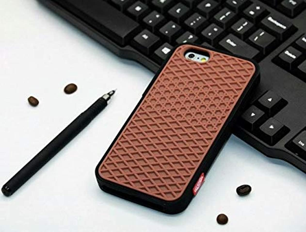 EPENA Vans Waffle Case for iPhone X XS 5 5s SE Cover Soft Rubber Waffle Shoe Sole Silicone Back Cover for iPhone 8 7 6 6S Plus - (Color: Brown with Black, Material: for iPhone X) phrlmvfcrnq24027