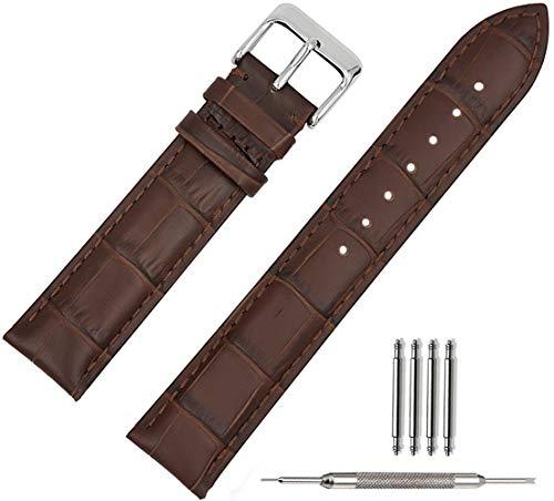 DXR Correa de reloj de cuero suave con hebilla de cierre de reloj pulsera de pulsera, marrón, 19 mm