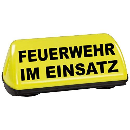 PACO Deutschland e.K. KFZ Dachaufsetzer Speed gelb Feuerwehr im Einsatz TÜV geprüft bis 240 km/h Textfarbe schwarz unbeleuchtet