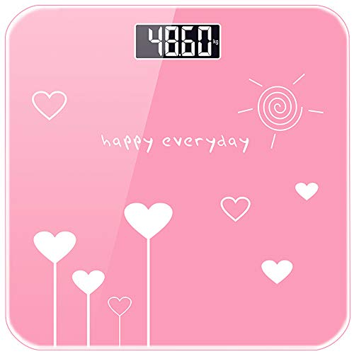 Electronic Scale Portable Smart Digital Weight Scale with Night Vision Screen, Weighing Range 0.2kg-180kg Rechargeable Pink Weight Scale
