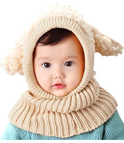Bienvenu Kids Hat Winter Cold Weather Crochet Earmuff Beanie Hat Scarves Neck Warmer 1 Piece Set, Beige