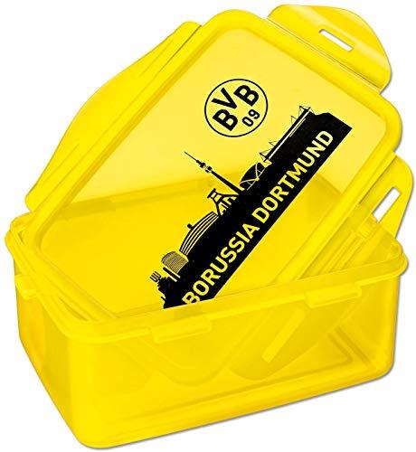 Borussia Dortmund Brotdose/Lunchbox/Frühstücksbox/Vorratsdose 2er Set BVB 09 - Plus gratis Aufkleber Forever Dortmund
