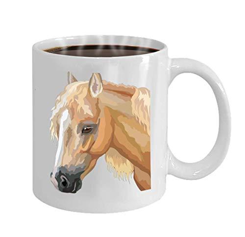 Koffiekopje keramische schaal geschenken 11 ounces gekleurde paardenportret palomino-waliser-ponykop Lon