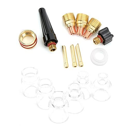 Kit de accesorios de antorcha de soldadura, boquilla de vidrio para soldadura, vidrio + latón, buena resistencia a altas temperaturas para pistola de soldadura WP9 / 20