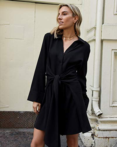 The Drop Women's Black Exaggerated Tie-Front Button Down Dress by @lisadnyc