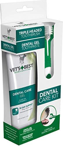 Vet's Best Pasta de Dientes para Perros, Limpieza de Dientes y Kit de Gel para el Cuidado Dental de Aliento Fresco