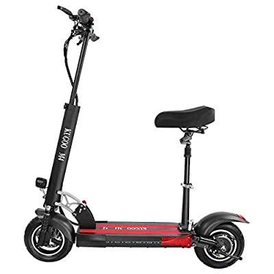 Electric Scooter, KUGOO M4 Folding E Scooter for Adult with Seat, 3 Speed Modes Up to 45km/h, LCD Display, Max Load 150kg, 10 Inch Pneumatic Tire, Front LED Light Warning Taillight Commuting Scooter