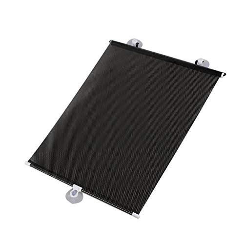 PXQ Toldos de la ventanilla del Coche 2pcs Pantallas de Visera retráctiles Rodillo Auto Cortina Bloques Rayos UV Protección/Corte,Black,M