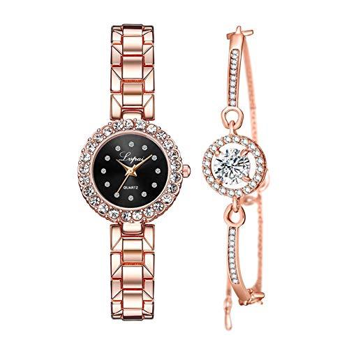#N/A/a Juego de Pulsera Y Reloj de Lujo para Mujer Reloj de Pulsera de Cuarzo Regalo de Joyería - Rosa Rojo Negro