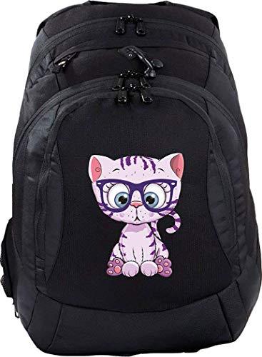 Mein Zwergenland Schulrucksack Teen Compact, 26 L, Schwarz, lila Katze mit Brille