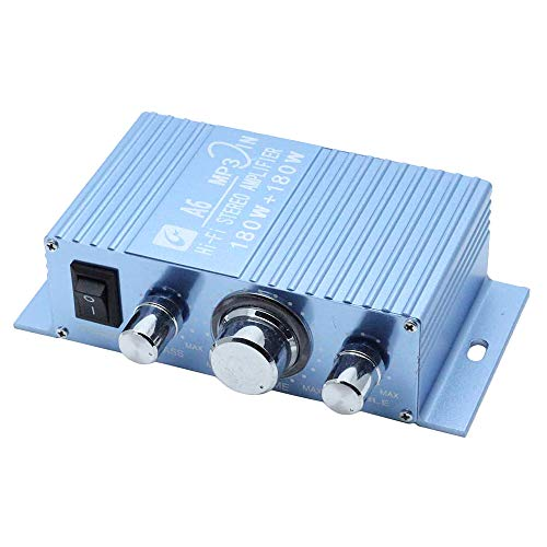 AUTUT Dual Channel Mini Amplifier, Hi-Fi Stereo Reciever for Cars Motorcycles Computer Speakers, DC 12V-15V 40W