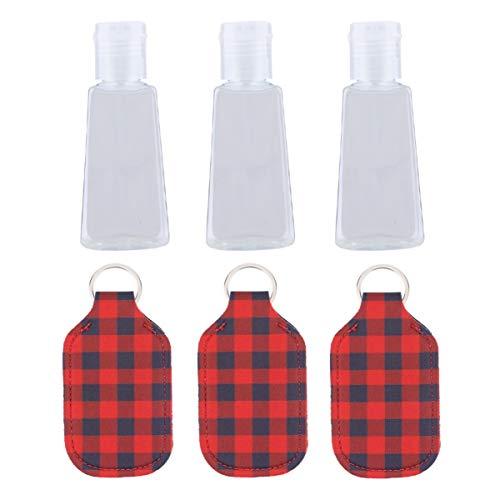 Cabilock 6 Piezas Botella de Tamaño de Viaje Vacía con Tapa a Cuadros 30 Ml Botella de Plástico con Tapa Abatible Botellas de Desinfectante de Manos Vacías Tubos de Contenedores de Loción