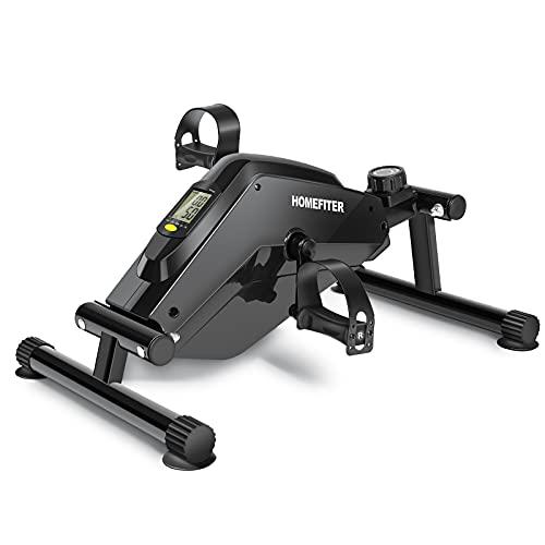 Magnetic Under Desk Bike Pedal Exerciser Mini Floor Peddler with Digital Monitor & Adjustable Resistance for Seniors Arm Leg Exercise at Home Office - Black