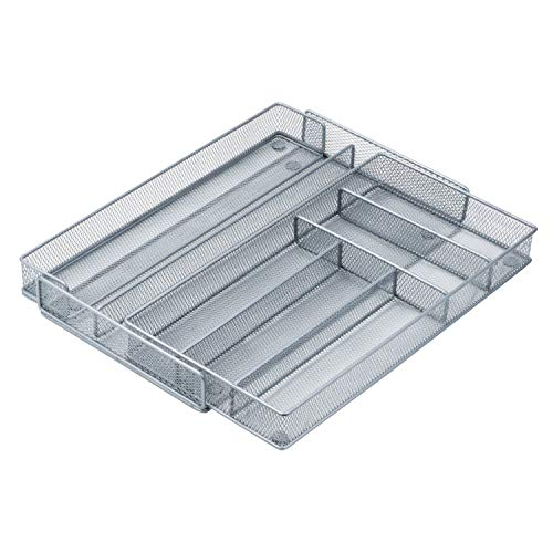 Honey-Can-Do KCH-02163 Steel Mesh 7-Compartment Expandable Utility Drawer Organizer, Silver