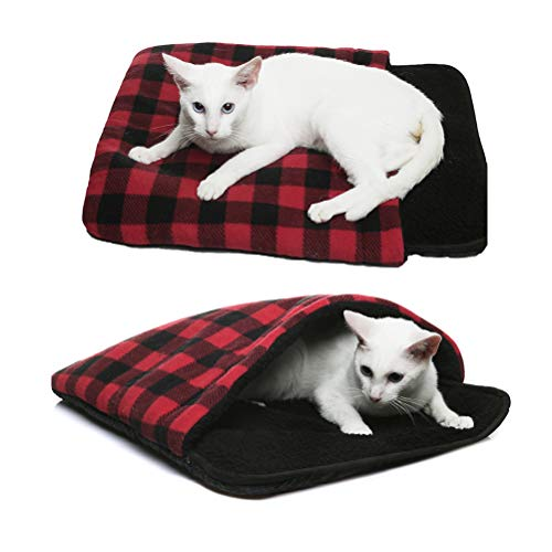 SCIROKKO Self Warming Cat Bed Mat - Thermal Anti Slip Pet Cave, Plaid Heated Pad Sleeping Hideaways Bag for Cats & Puppies