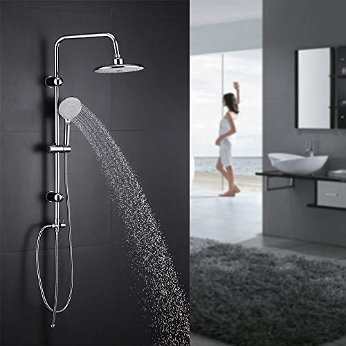 Regendusche Set Duschset Duscharmatur Handbrause Brause DUSCHE Badezimmermöbel, Höhenverstellbarer und schwenkbarer Brausehalter, Edelstahl