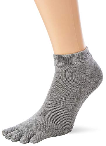 Toesox Full Toe Ankle Calcetines de Yoga, Unisex Adulto, Gris (Heather Grey), M