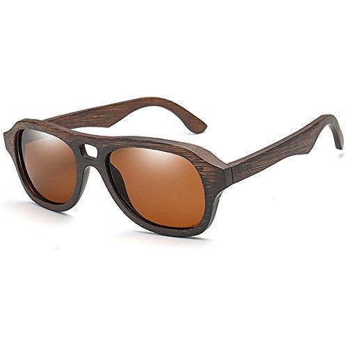 SHEEN KELLY Gafas de sol de madera Hecho a mano Gafas de sol de piloto Polarizado para hombres mujeres Espejos lentes