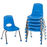 FDP 12' School Stack Chair, Stacking Student Seat with Chromed Steel Legs and Ball Glides; for in-Home Learning or Classroom - Blue (6-Pack)