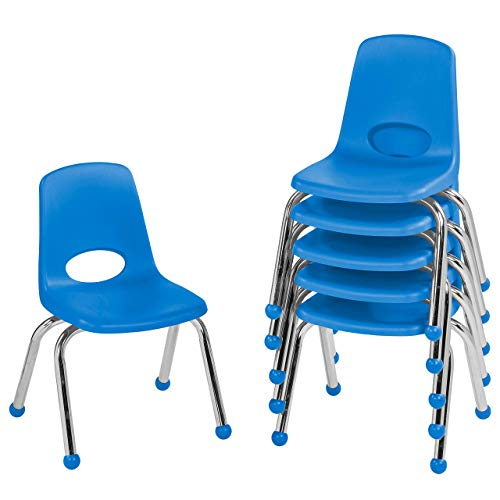 "FDP 12"" School Stack Chair, Stacking Student Seat with Chromed Steel Legs and Ball Glides; for in-Home Learning or Classroom - Blue (6-Pack)"
