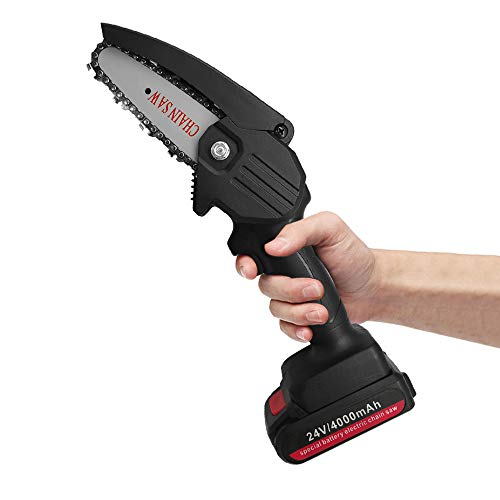 Jemyda Mini Chainsaw for Tree-Pruning, Electric Chainsaw 4 Inch for Garden and Ranch Wood Cutting, Cordless Chainsaw Handheld Rechargeable Battery Powered Chainsaw with Brushless Motor Black