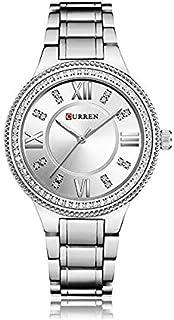 Curren 9004 Quartz Movement Round Dial Stainless Steel Strap Waterproof Women Wristwatch - Silver