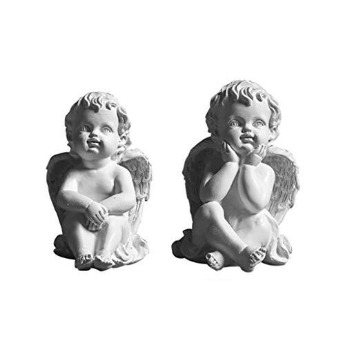 Sculptures Set of 2 Resin Adorable Cherubs Angels Statues Figurine Guardian Angel Garden Angels Sculpture Cute Angel Wings Angel Home Accessories