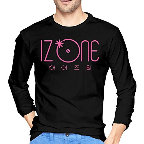 Qin Tong Camiseta de los Hombres Mens Cool IZONE Long Sleeve T Shirt Black Unique Design