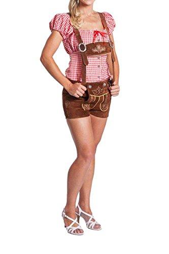 FROHSINN Damen Trachten Lederhose kurz, Trachtenlederhose, mittelbraun, Größe 38