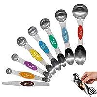 meiyijia cucchiai dosatori, cucchiai dosatori magnetici con doppia estremità in acciaio inox 8 pieces measuring spoons multi,per misurare ingredienti secchi e liquidi