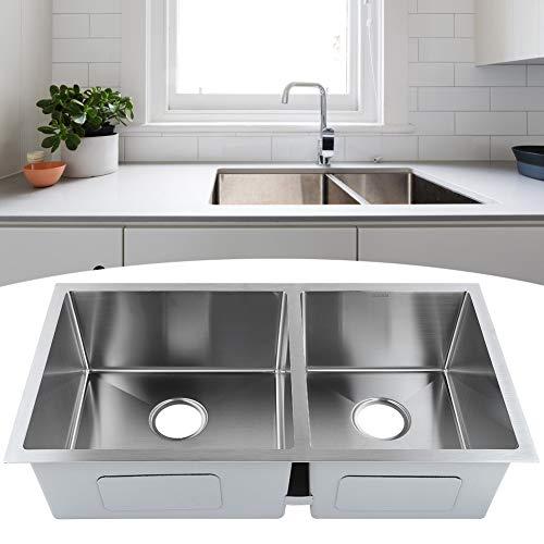 Fregadero Cocina de dos senos, Fregadero de acero inoxidable Bajo Encimera con desagüe, 83 x 45 x 21cm, resistente a la corrosión, Silencioso