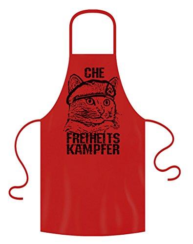 Cadeau voor kattenvrienden dierliefhebbers :-: Che :-: Keukenschort BBQ-schort :-: Cadeau-Verjaardag Moederdag Vaderdag Kerstmis :-: Kleur: rood