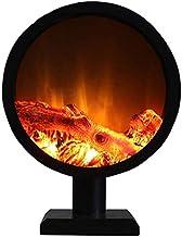 UWY Estufa eléctrica para Chimenea Redonda de Suelo con leña Tridimensional y Chimenea Decorativa empotrada para el Interior con Mando a Distancia Inteligente sin calefacción 6 W Negro