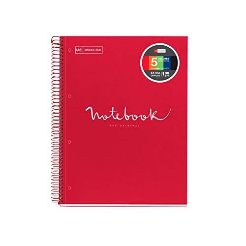 Miquelrius - Cuaderno Espiral Microperforado, Cubierta Cartón Duro, Tamaño A4 210 x 297 mm, 4 Taladros, 120 Hojas de 90 g/m² y 5 Franjas de Color, Cuadrícula de 5 x 5 mm, color Rojo