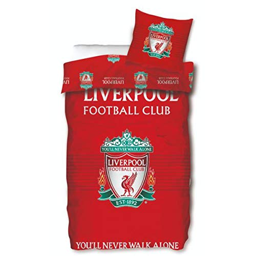 J&K Markets - Copripiumino FC Liverpool, rosso, 140 x 200 cm, 1 persona, 100% cotone