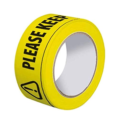 Cinta de seguridad de distanciamiento 2 m – Apart Social Black & Yellow peligro advertencia piso pegatinas Roll, 'Please Keep a Safe Distance of 2 Metres', cintas adhesivas de marcación de 33 mx48 mm