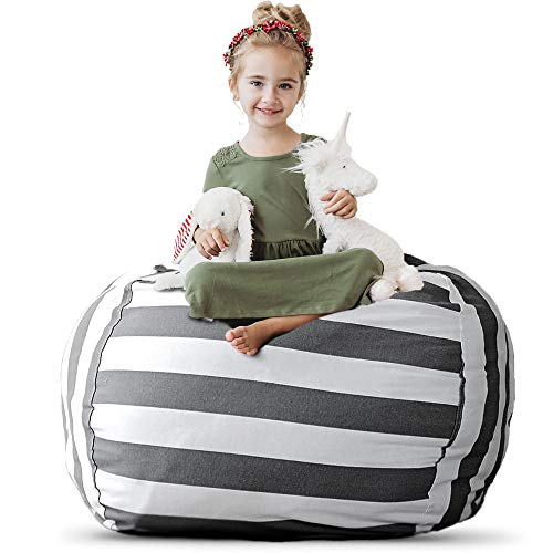 """Stuffed Animal Storage Bean Bag Chair - Extra Large Stuff 'n Sit by Creative QT - Organization for Kids Toy Storage - Available in a Variety of Sizes and Colors (38"""", Grey/White Striped)"""