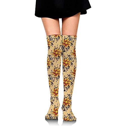 Jesse Tobias Calcetines hasta la rodilla Textura transparente con flores Calcetines largos Calcetines de compresión de calcetines de arranque para mujeres