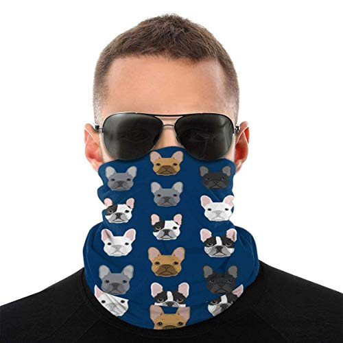 Francés Bulldog Caras Azul Marino Diadema Variedad Turbante Capucha Velo Mágico Bufanda Multi Función Bufanda