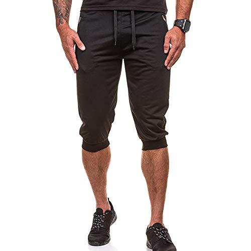 WOIA Pantalones Deportivos Casuales elásticos de Color Puro para Hombre con cordón, Negro, 2XL