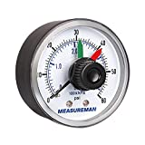 Measureman Boxed Pressure Gauge with Dial Replacement for Select Filters, 2' x 1/4'NPT Back, 0-60psi/4bar, -3-2-3%