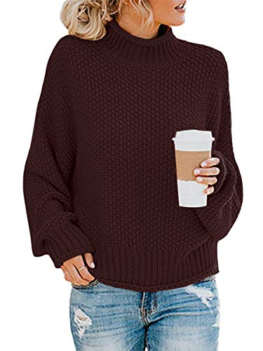 Womens Turtle Neck Vintage Sweaters Pullover Juniors Coffee S