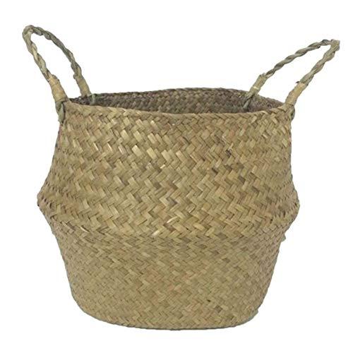 SODIAL Seagrass cesta de cesteria de mimbre plegable colgante maceta d