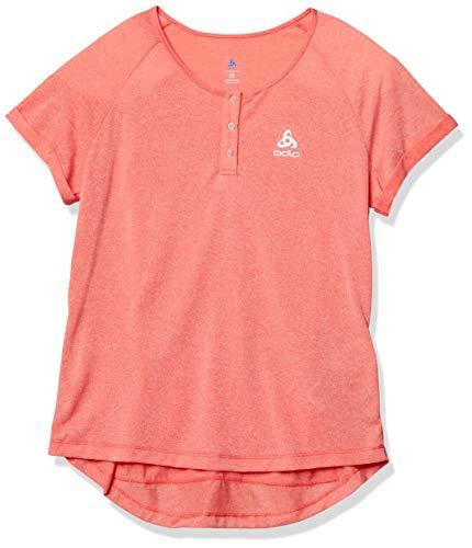 ODLO T-shirt à col rond pour femme L Mélange de corail chaud.