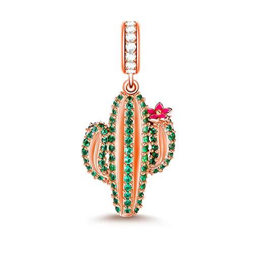 GNOCE - Abalorio de cactus de plata de ley 925 con colgante de Cz Plants para pulseras y collares, el mejor regalo para las niñas amantes de la madre