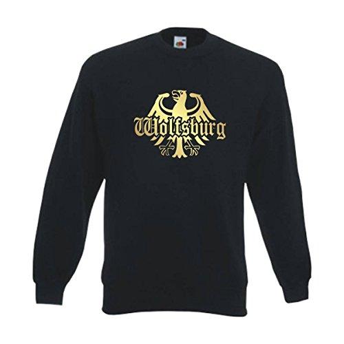 Fun T-Shirt Sweatshirt Wolfsburg Meine Heimat Meine Liebe, edel bedruckter schwarzer Herren Städte Pullover mit Rundhals auch Übergrößen (SFU08-20c) 6XL