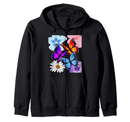 Bonitas flores y mariposas rosa azul púrpura amarillo blanco Sudadera con Capucha