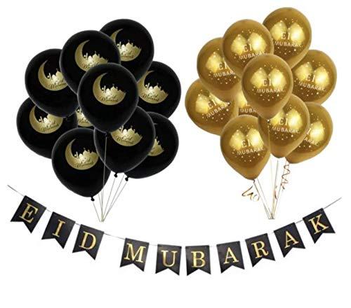 Eid Mubarak Deluxe Ballonnen Black & Gold 21 Stuks + Eid Mubarak Slinger! Ramadan Feestdecoratie Eid Decoratie Chrome Zwart Goud