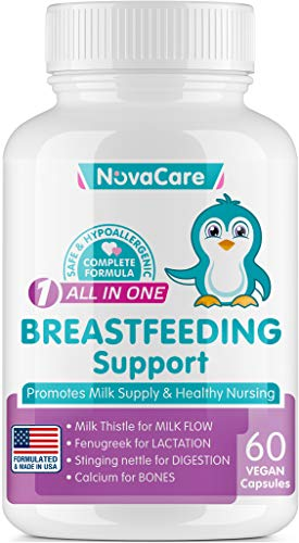 Breastfeeding Supplement for Lactation Support - Lactation Supplement for Increased Breast Milk - Aid for Breastmilk Supply - Fenugreek Seed, Nettle & Milk Thistle for Milkflow - 60 Vegan Capsules